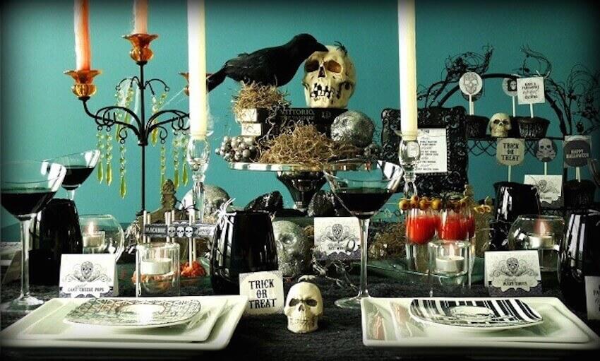Decor for the indoor Halloween theme