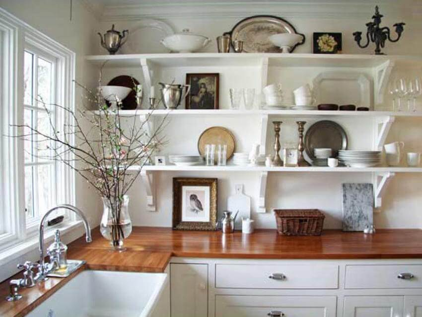 Shelving units for a home kitchen countertop selection