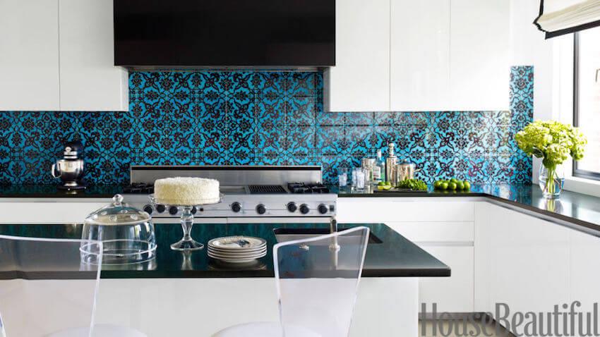 Custom blue kitchen backsplash