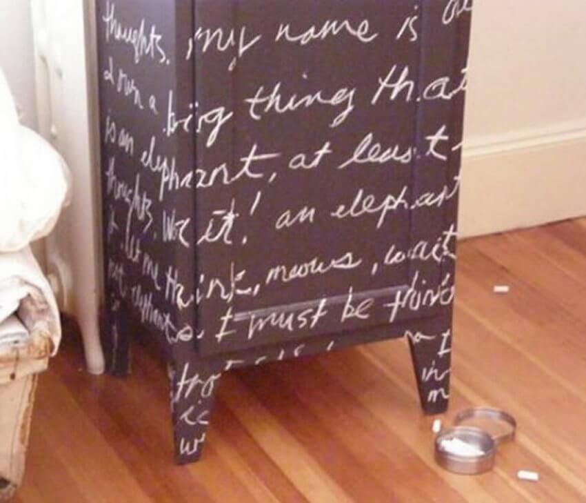 Chalkboard furniture creates a unique vision no matter what room its put in