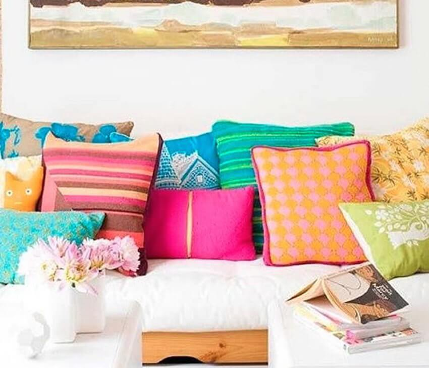 Lots of fun colors in a pillow room