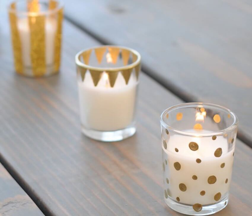 DIY candles around the rental home