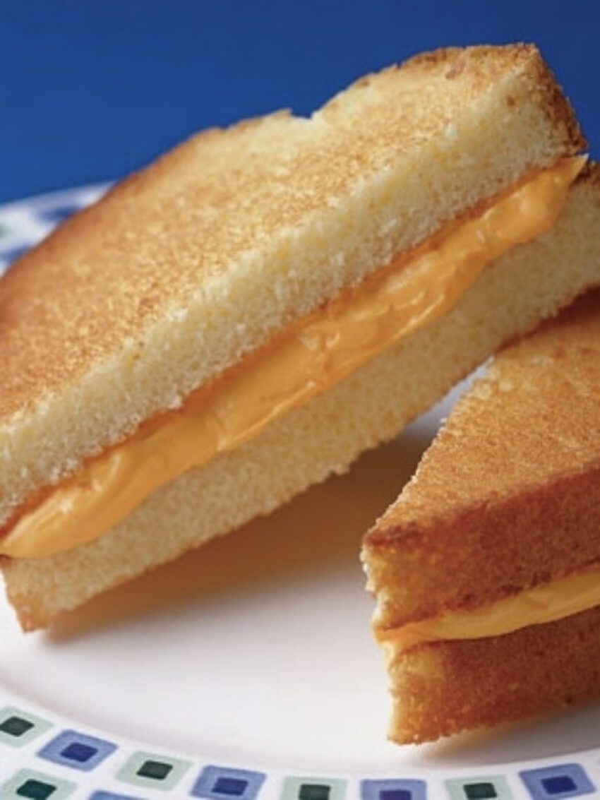 A delicious pound cake recipe that looks like a grilled cheese.