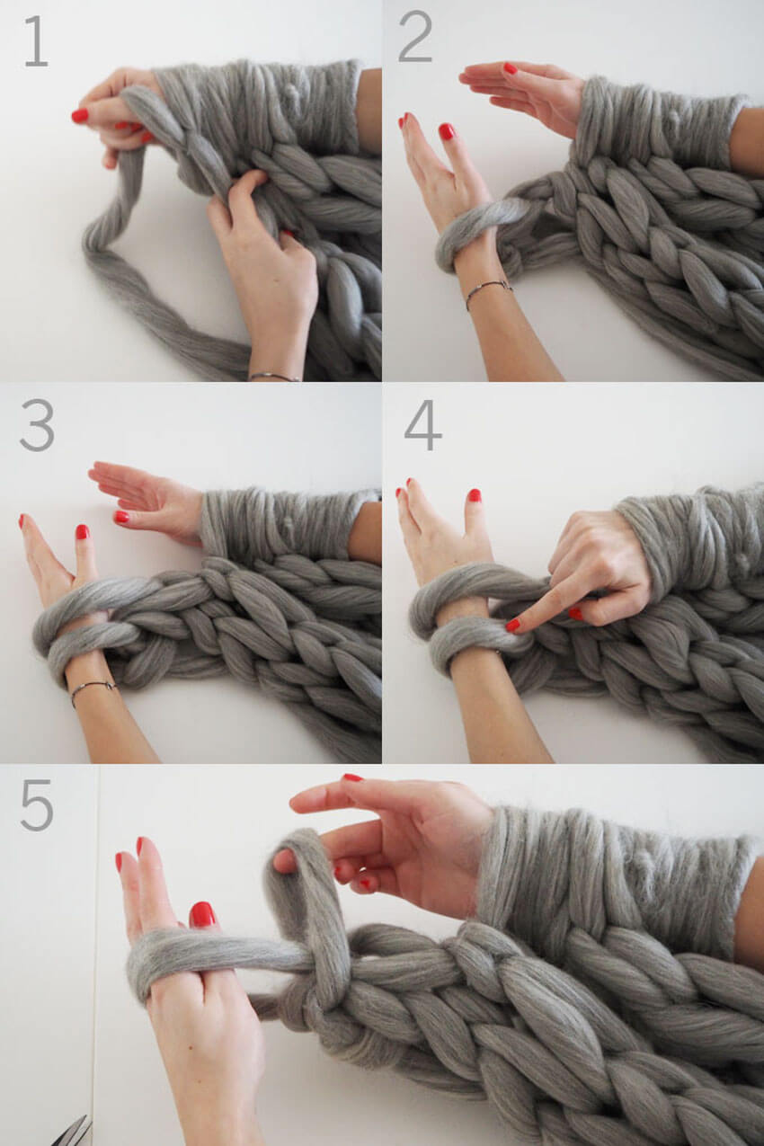 Step-by-step arm knitting scarf.