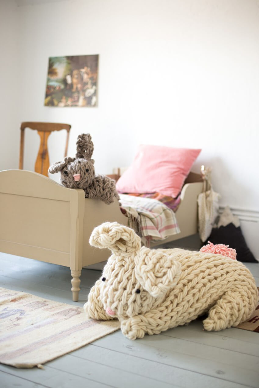 Giant knitted bunny your kids will fall in love with.