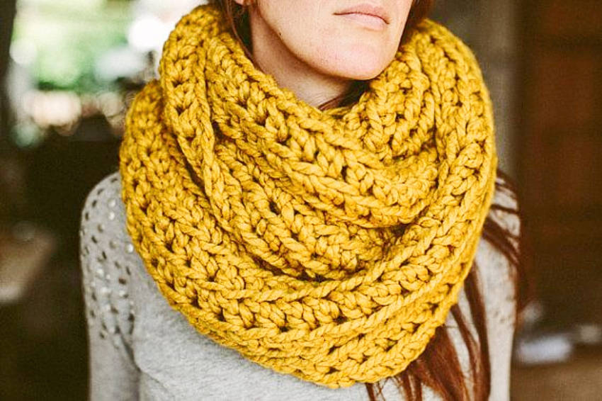 Beautiful and cozy yellow scarf!