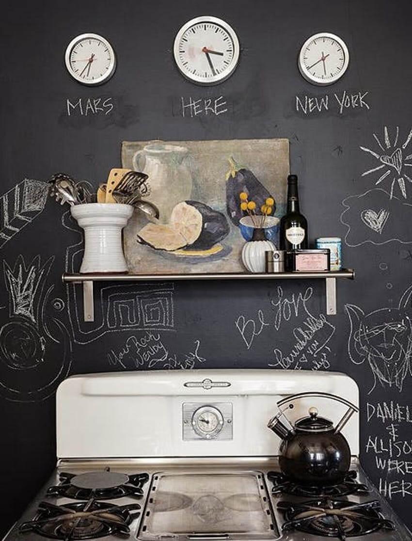 A chalkboard backsplash is stylish, fun, and lets you be creative!