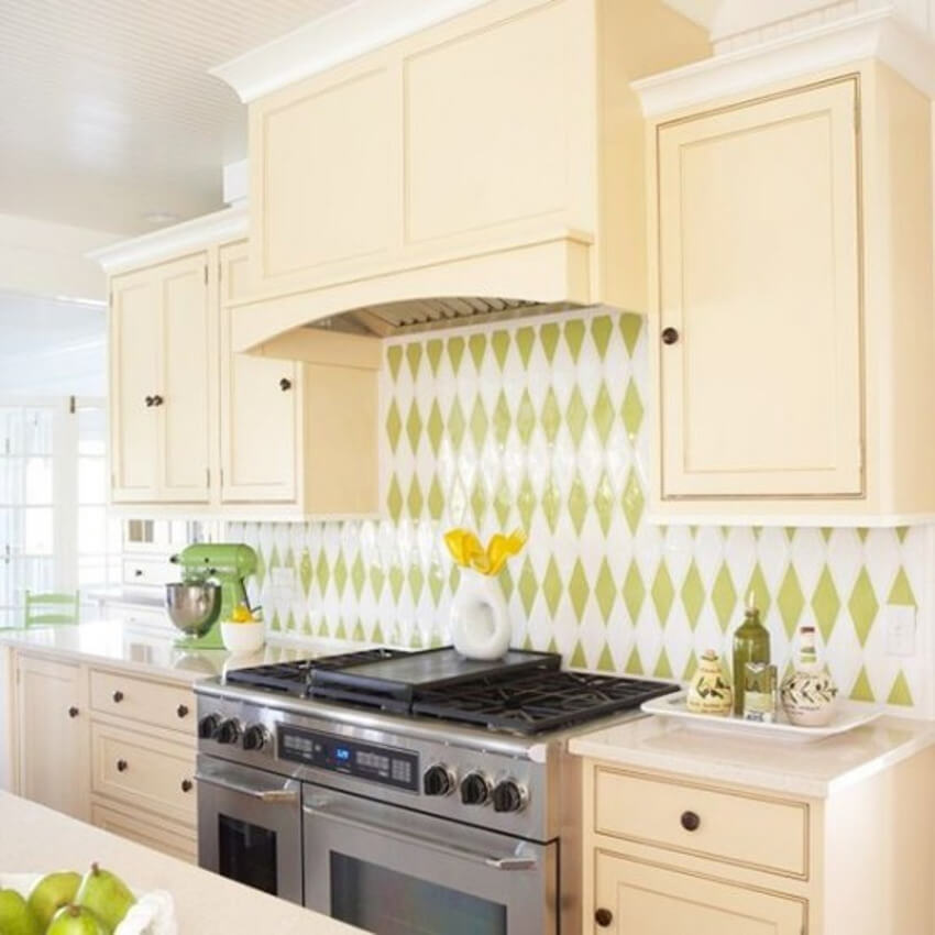 Use diamond-shaped tiles to play with colors.