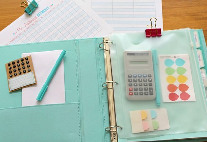 Set up a binder for long term bills, receipts, or mail.