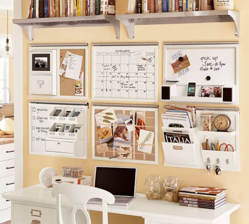 Cork boards are very useful for paperwork you'll be disposing of in a short period.