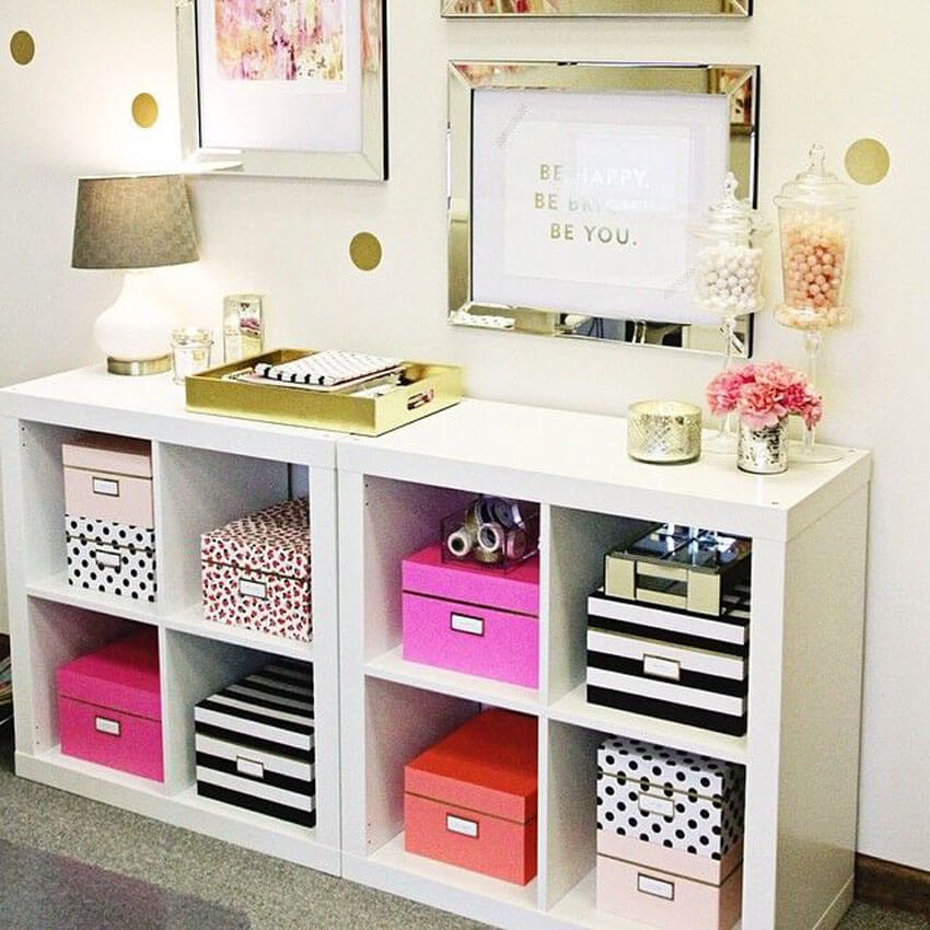 Cabinets and bookshelves make great places to store items.