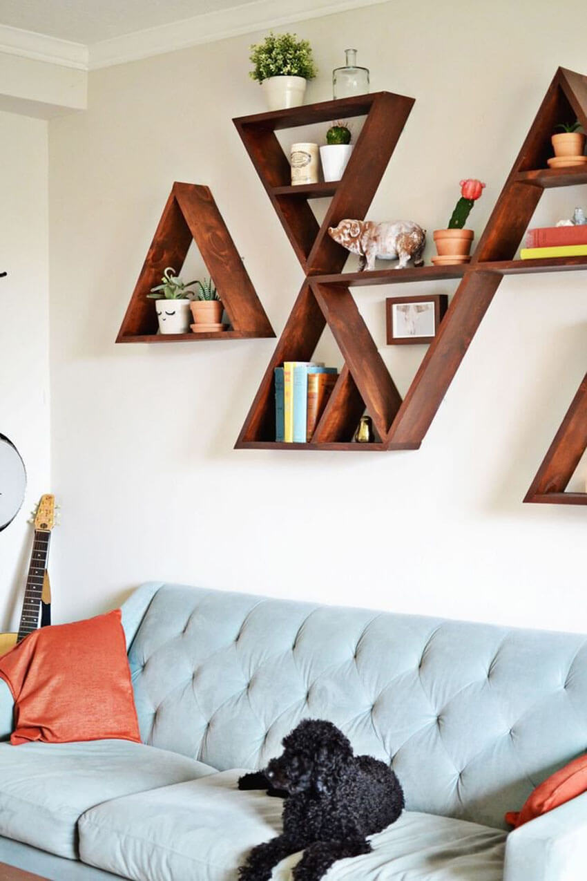 Using floating shelves will free up floor space and add style to your small room.