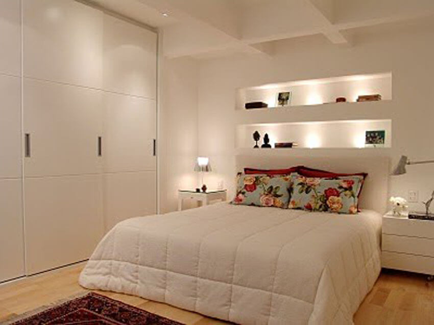 Using recessed lighting or wall lighting will help free up table and floor space.
