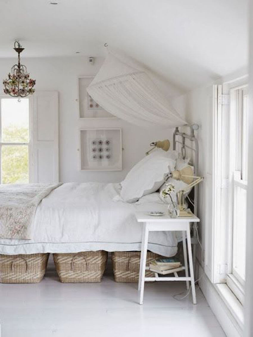 Use storage containers under the bed to hide seasonal clothing and other rarely used items.