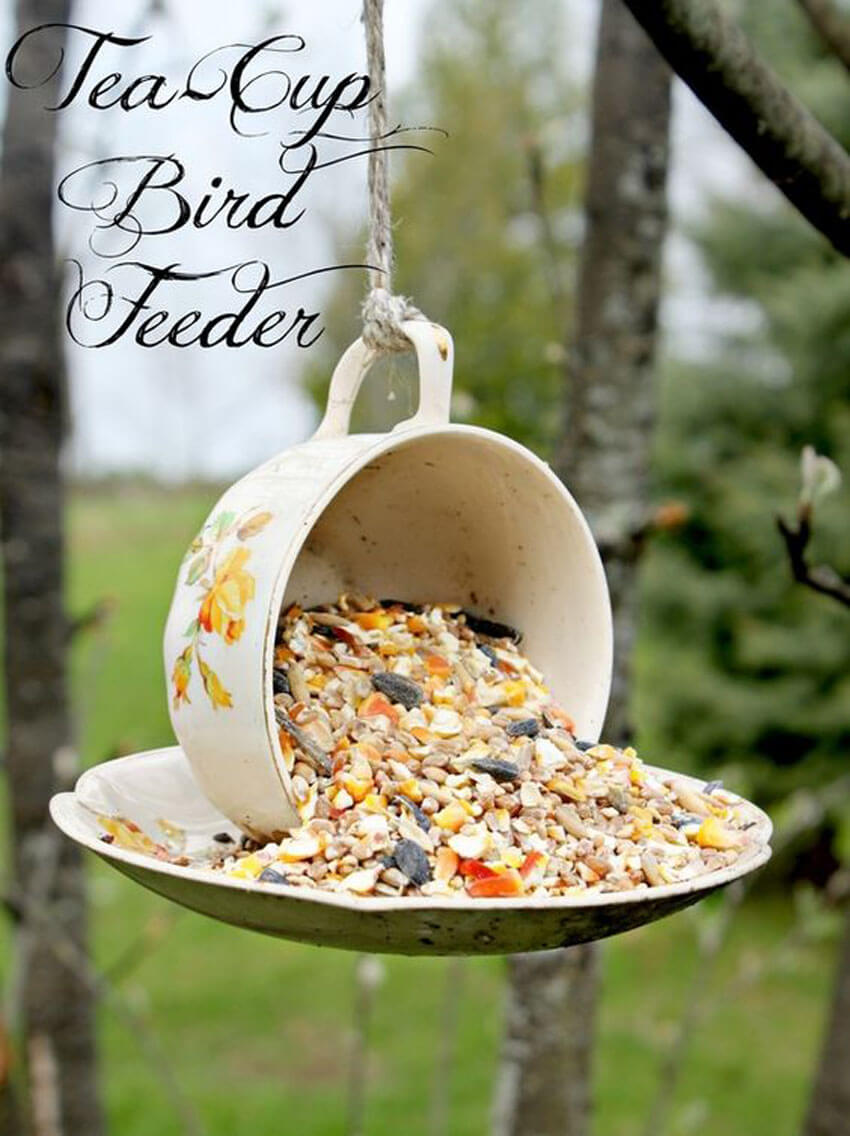 An adorable DIY teacup bird feeder is a fabulous way to welcome birds to your yard.