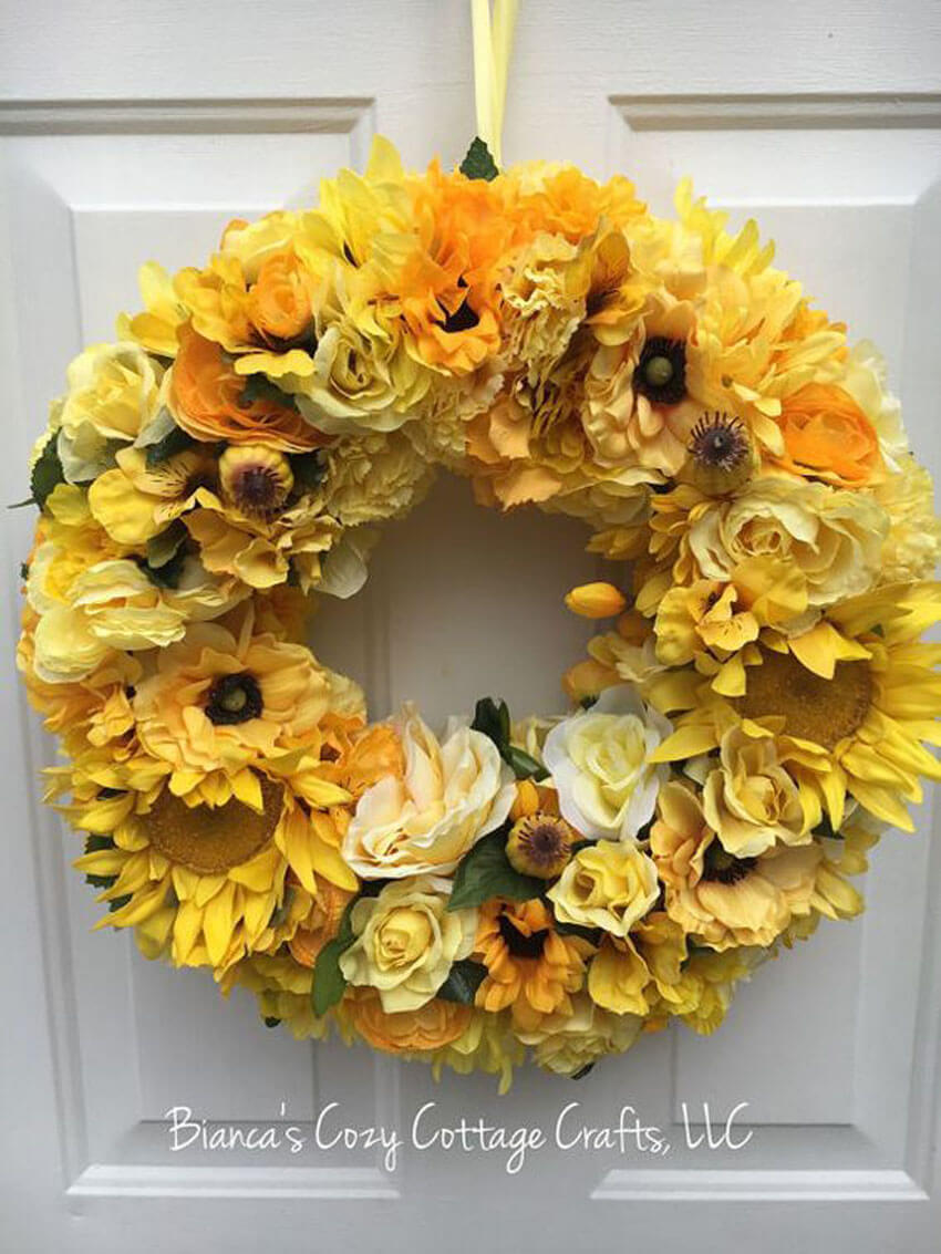 Hanging a flowery wreath on your door is a great way to welcome spring.