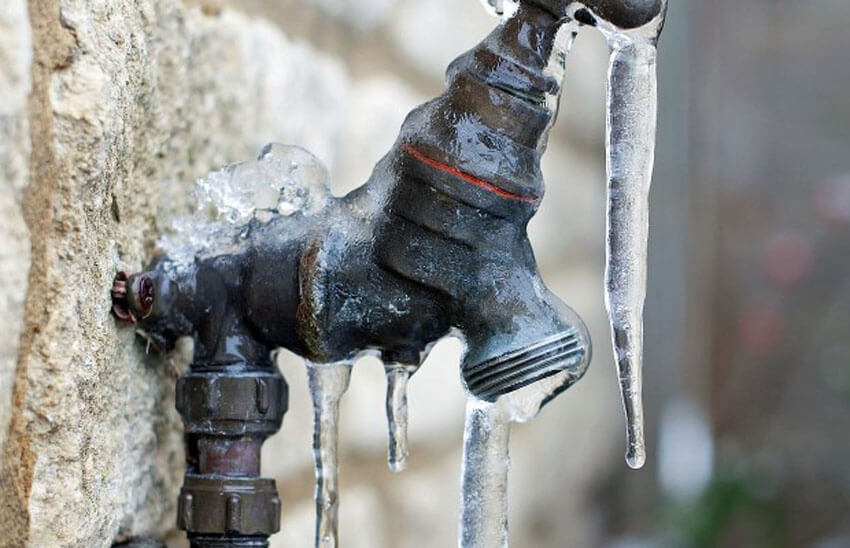 To keep your pipes from bursting, turn off outside faucets and get your irrigation system professionally drained.