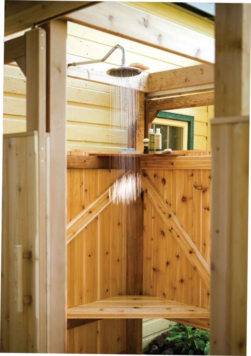 Wooden base for a shower