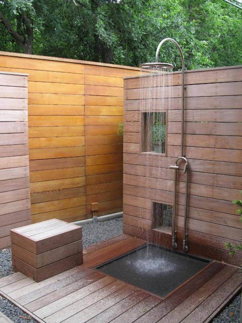 Outdoor wooden summer shower