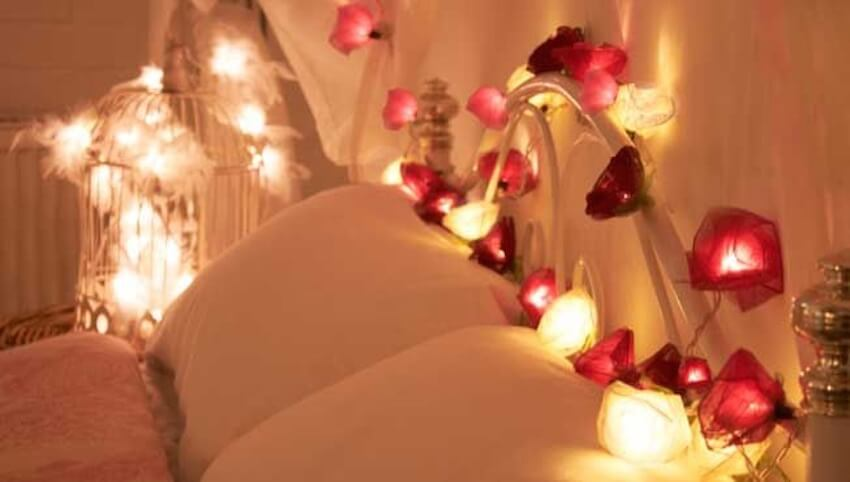 Candles and lights in the bedroom