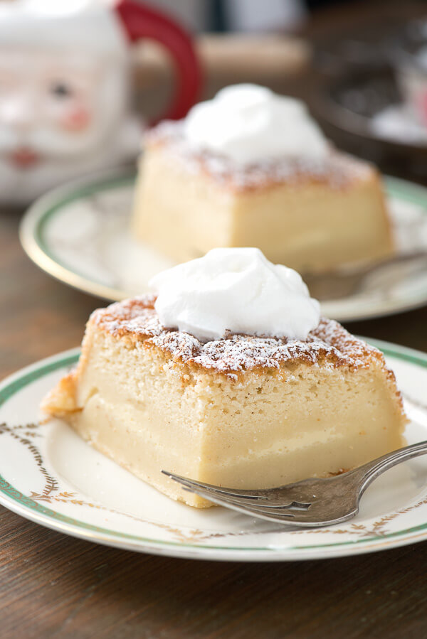 Who doesn't love magic cake? Add in a little eggnog and you have a delicious holiday treat that everyone will love!