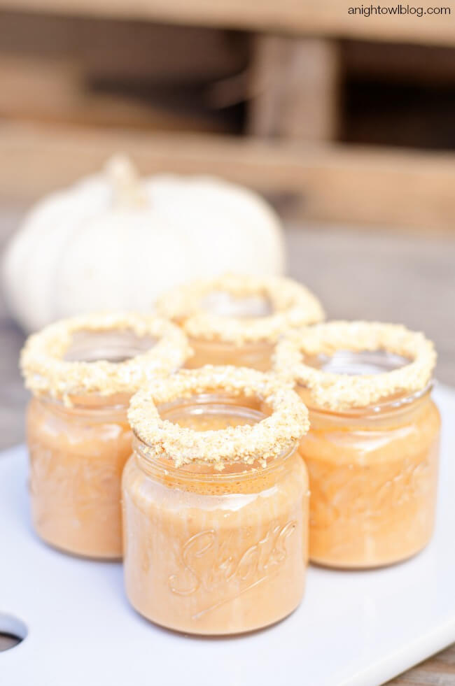 For a small blast of pumpkin flavor, these pumpkin pie shooters are our choice!