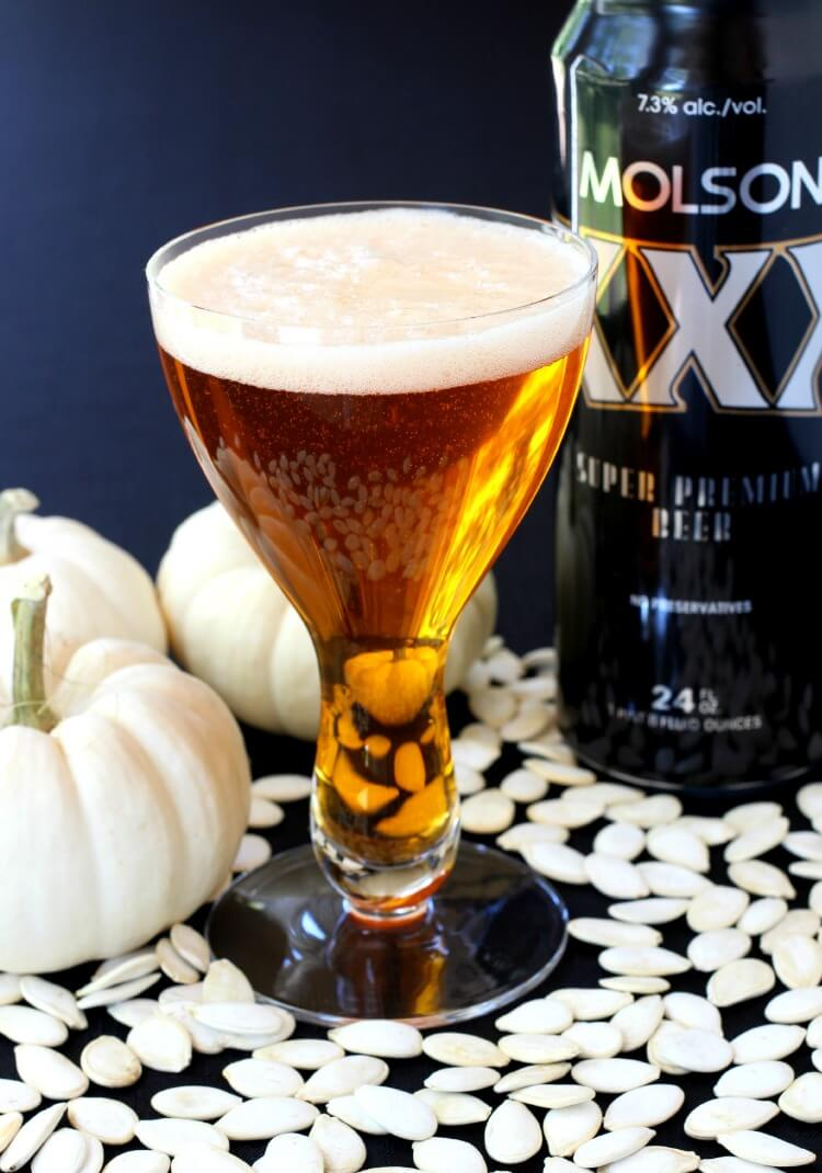 Prefer a beer to a martini? You're in luck! This delicious pumpkin beer cocktail is a great choice.