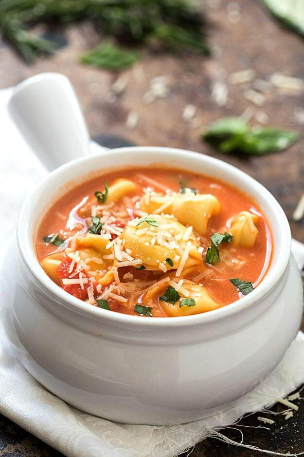 This creamy tomato tortellini soup is perfect for chilly fall nights.