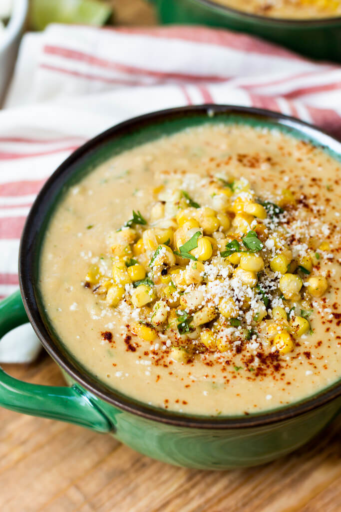 For a delicious vegetarian and gluten-free soup, this Mexican street corn soup is the perfect choice!