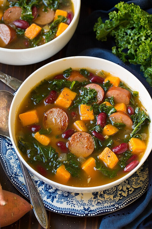 With this turkey sausage, kale, and sweet potato soup, you'll satisfy your hearty soup cravings.