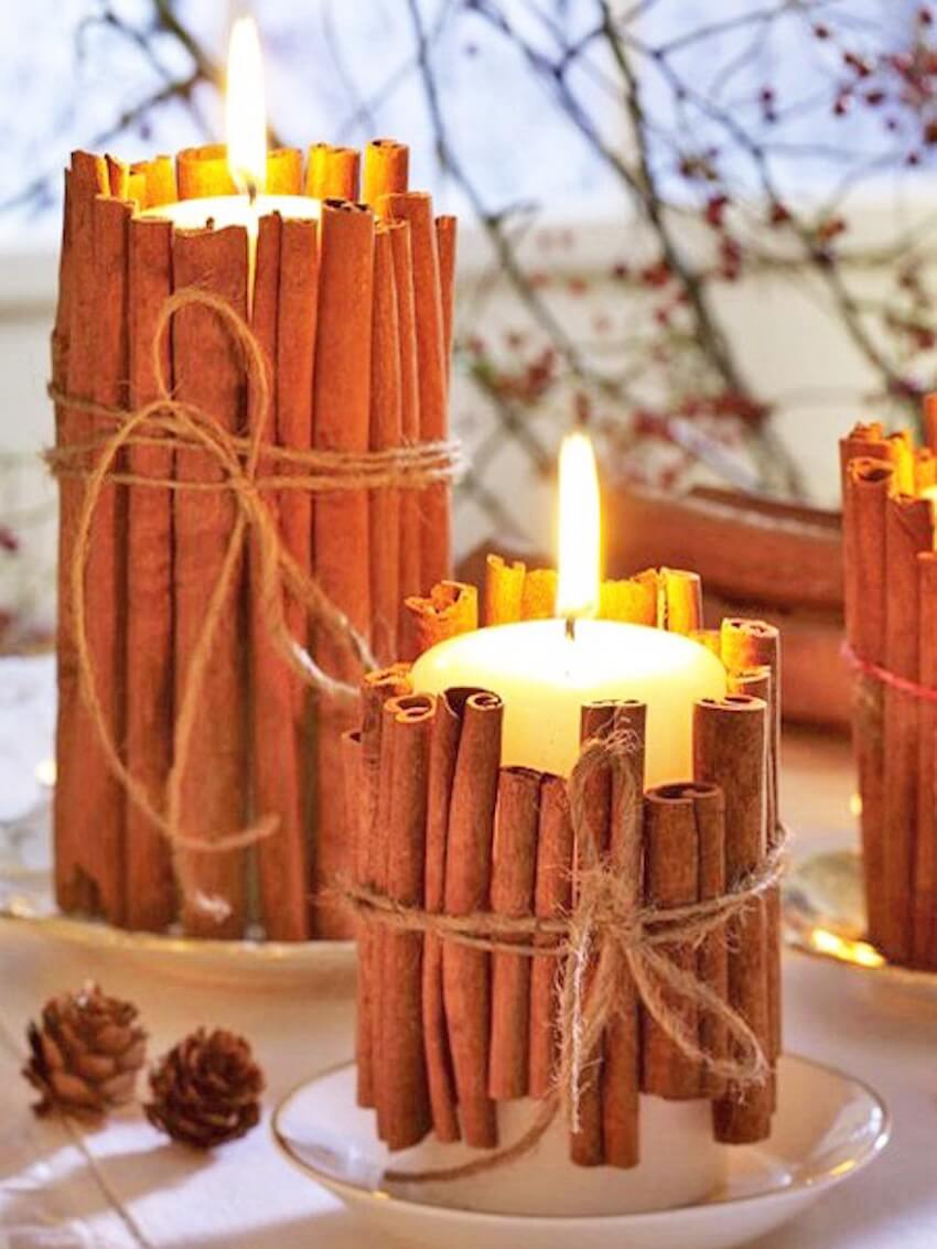 Wrap your candles in cinnamon for a bonus treat