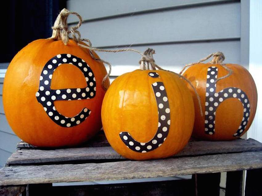 Spell out your initials in pumpkin decor for your backyard