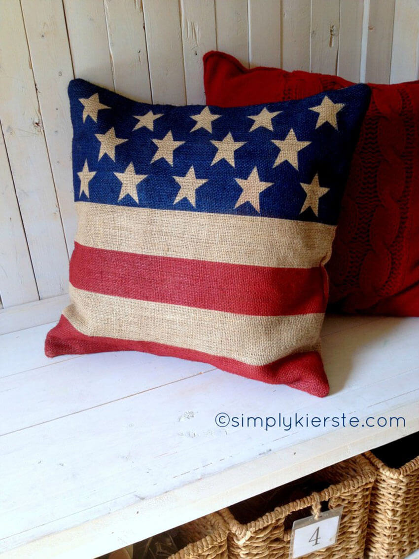 This patriotic pillow would look great in any living room!
