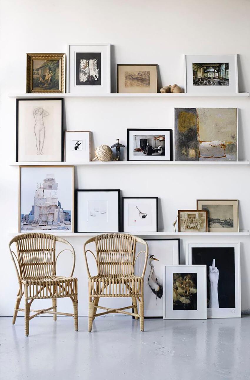 Tape and shelves offer interesting alternatives to hanged frames.