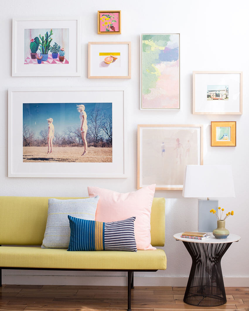 Mixing different sizes brings fun to the gallery wall.