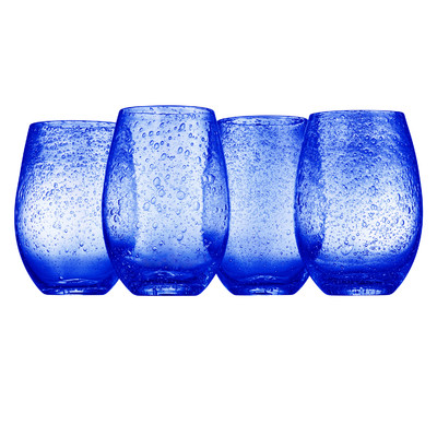 Crystal blue glasses that fir any dining room