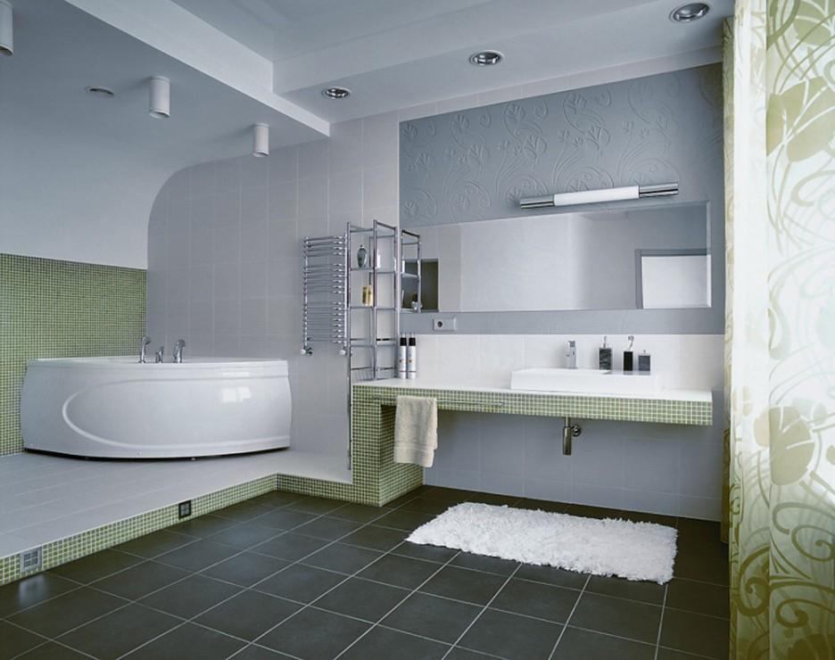 Gray tile floors
