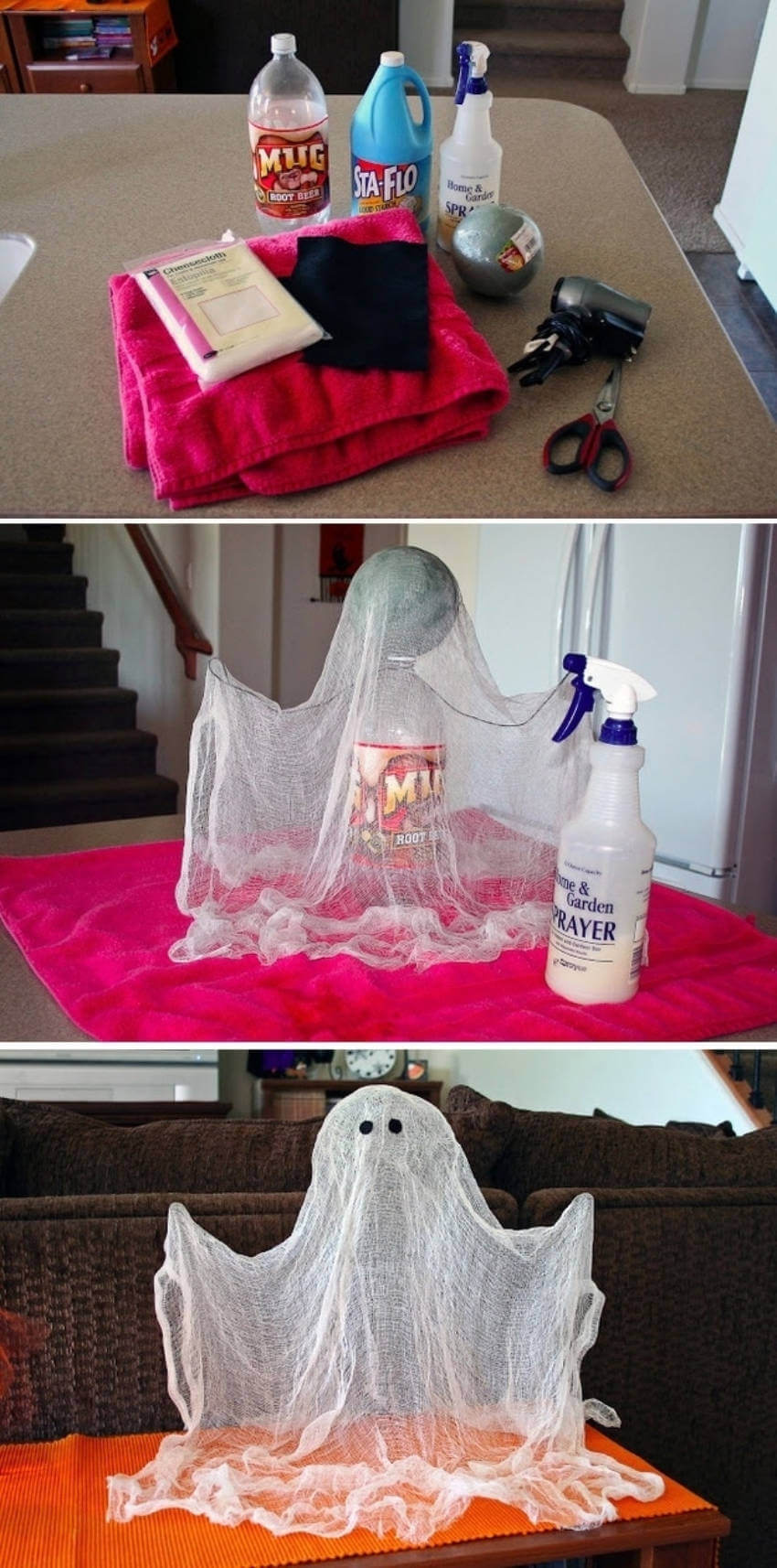 This floating ghost makes for easy and simple Halloween decor!