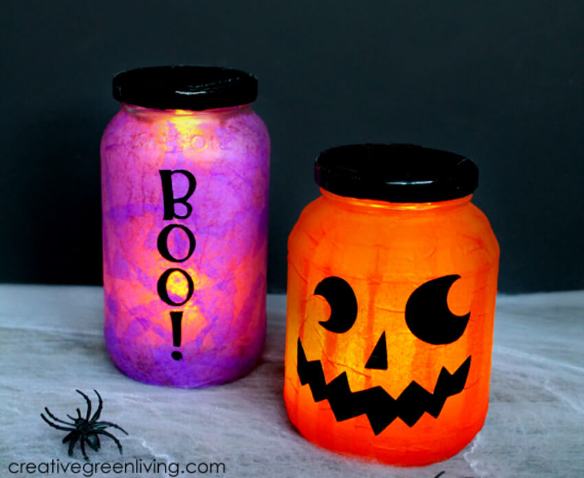 You can use these Halloween luminaries to decorate the living room!