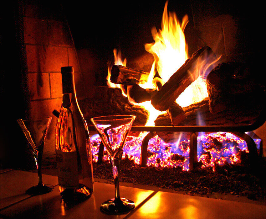 Cozy, romantic fireplace mantle