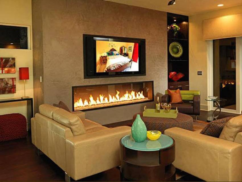 Classy warm fireplace mantle in the living room