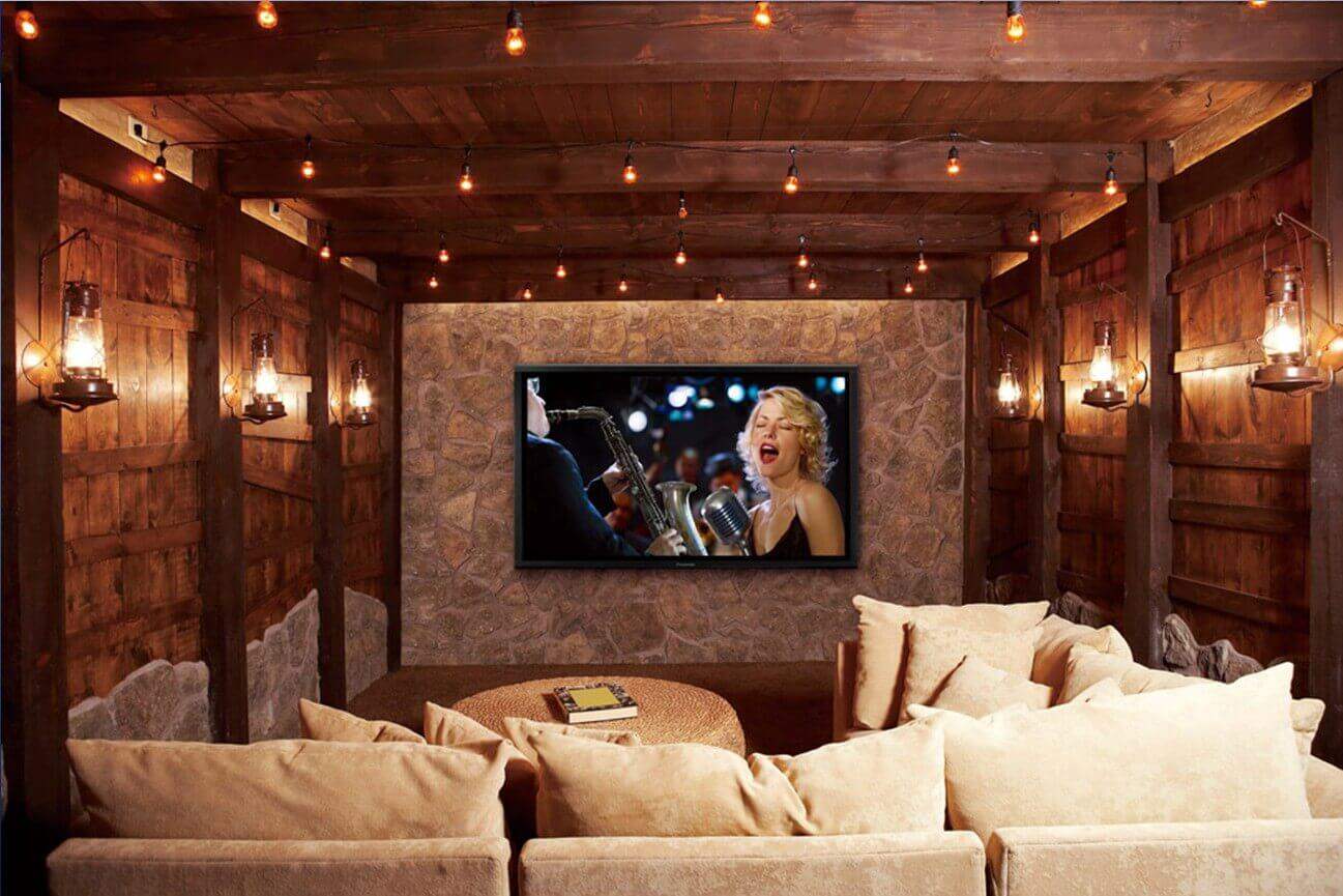 Home theater installation down in any interior basement