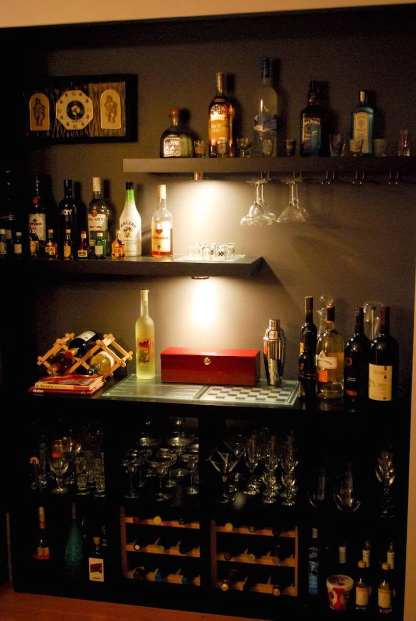 Shelving units for a living room bar