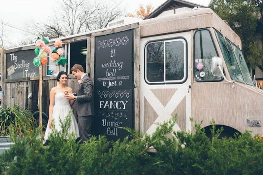 Skip the standard catering option and have a food truck come to feed your wedding guests!