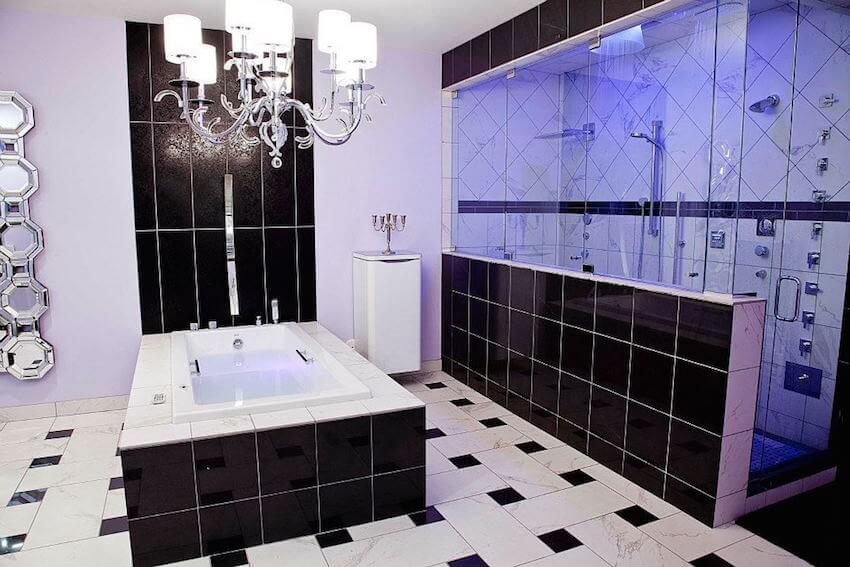 Using light fixtures to jazz up the bathroom tiles