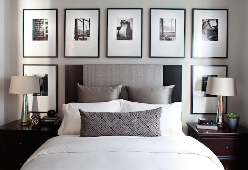 Show off your favorite art in your small bedroom by hanging frames on the walls instead of lining them up on your dresser or nightstand.
