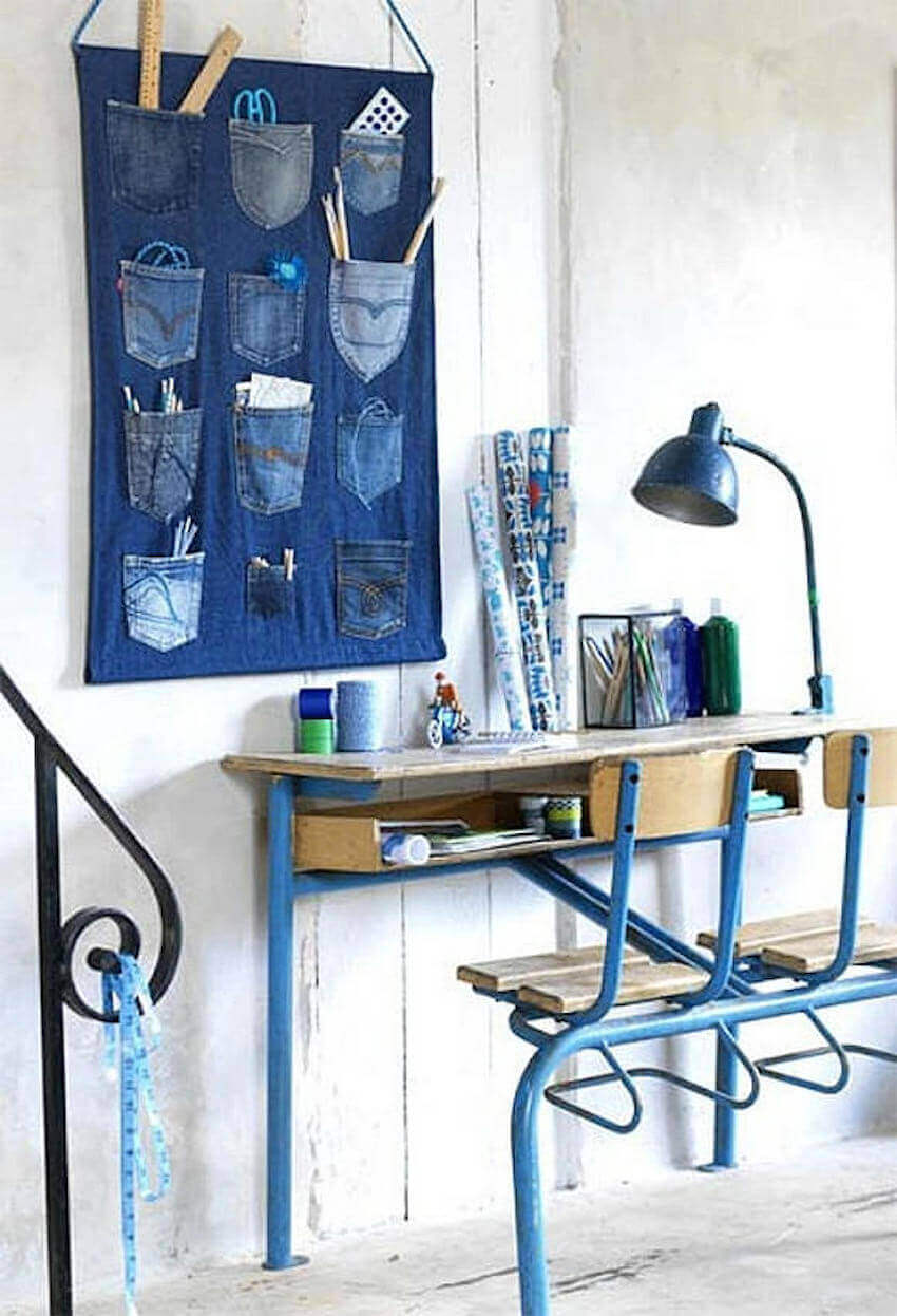Get your office supplies organized in style with a DIY denim wall storage unit!