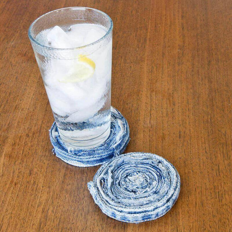 Make your own coasters out of denim jeans!
