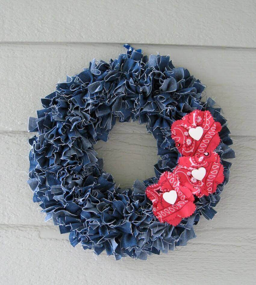 Add personality to your front door with a wreath made out of upcycled denim.