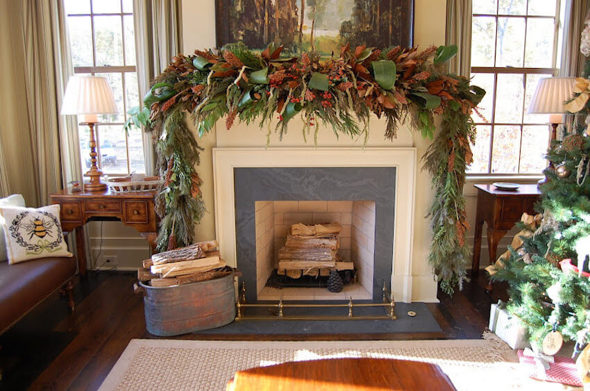 Rustic decor for any fireplace mantel